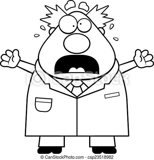 Scared Cartoon Mad Scientist - csp23518982