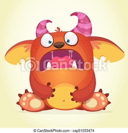 scared cartoon monster vector character illustration