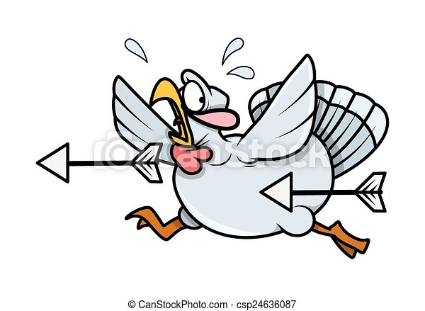 scared cartoon turkey bird running scared turkey bird vector rh canstockphoto com