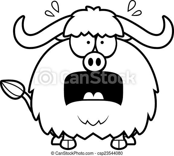 Scared Cartoon Yak A Cartoon Illustration Of A Yak Looking Scared