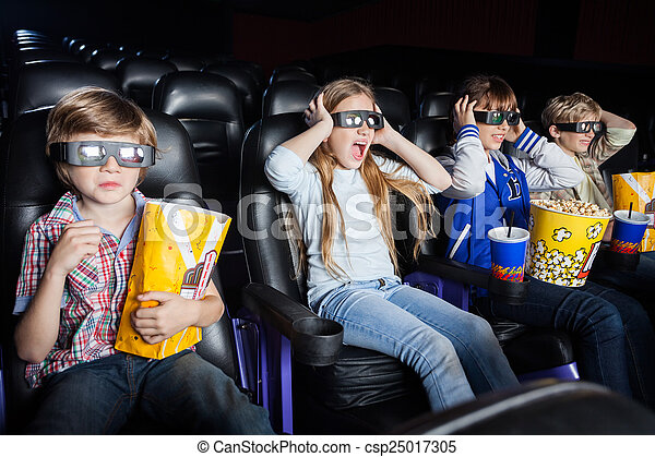 Scared Children Watching 3D Movie In Cinema Theater - csp25017305