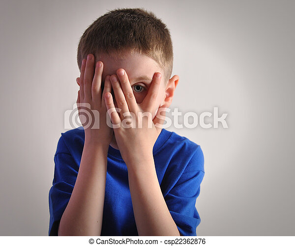Scared Little Child Covering Eyes - csp22362876
