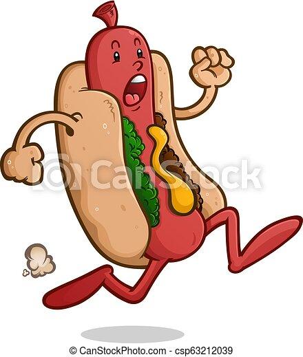 Scared Running Hot Dog Cartoon Character - csp63212039