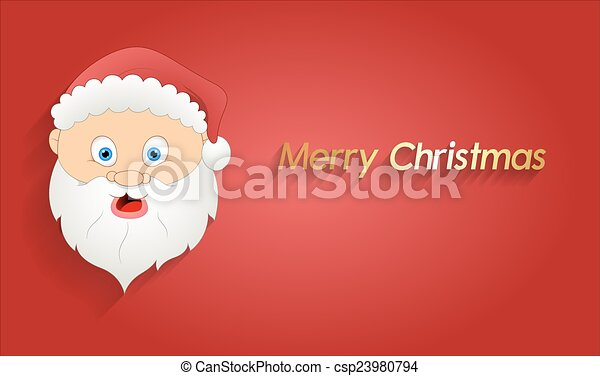 Line Drawing Santa Face : Scared santa face greeting banner cartoon surprised eps