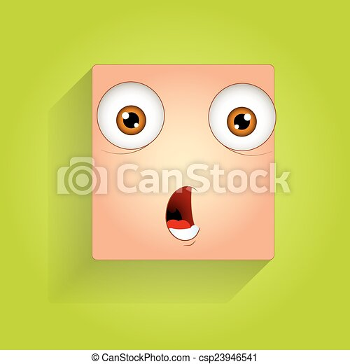 scared smiley face expression. surprised cartoon funny eps vector
