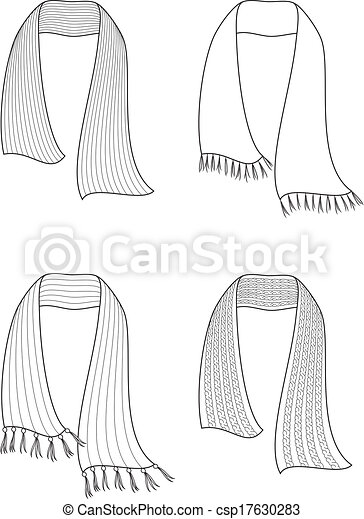 Scarf. Vector illustration of winter knitted scarfs.