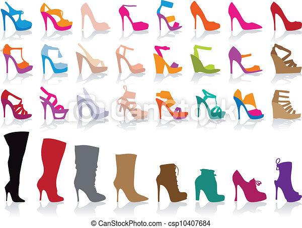 scarpe, vettore, set, colorito - csp10407684