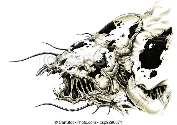 Line Drawing Monster : An illustration of a scary alien monster with teeth and clipart