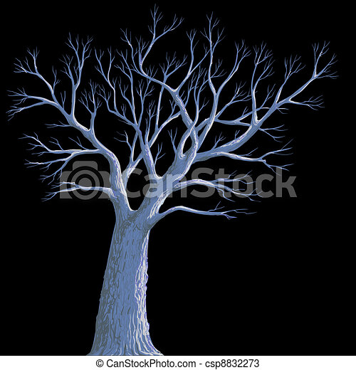 scary background, lonely old tree at night - csp8832273