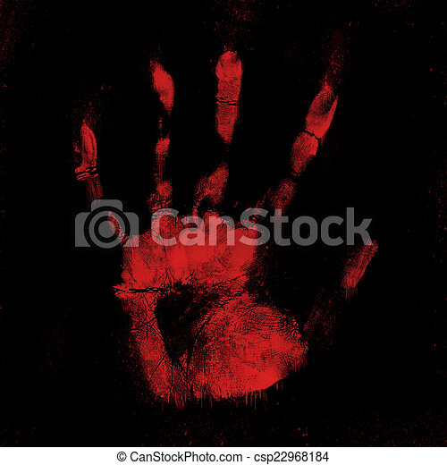 scary bloody hand print on black stock illustration csp22968184