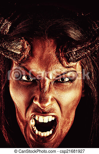 Scary Creature Portrait Of A Devil With Horns Fantasy Art Project