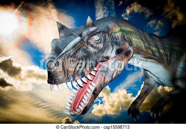Scary Dino Tyrannosaurus Rex in a dark sky - csp15598713
