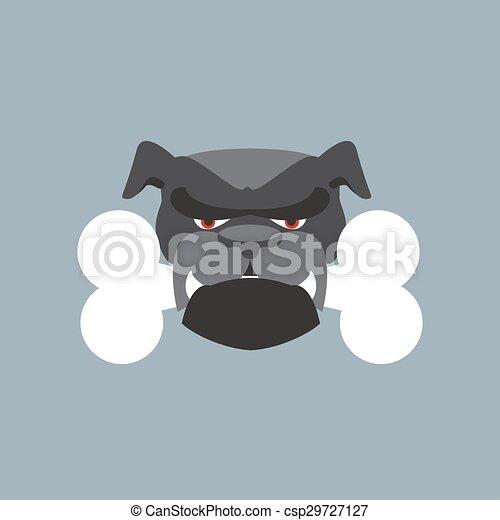 Scary Dog Head Angry Bulldog And Bone Pet Head Vector