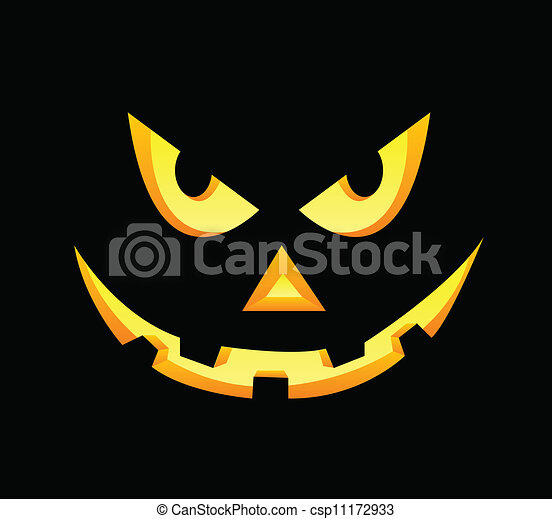 scary face of halloween pumpkin on black rh canstockphoto com scary pumpkin faces carving pumpkin scary faces ideas