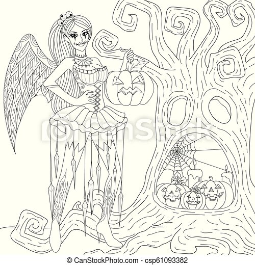 Scary Girl Halloween Coloring Pages Coloring Book For Adults