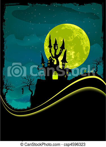Scary Halloween Castle with Copy Space. - csp4596323