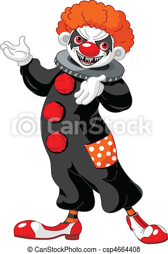 Scary Halloween Clown presenting - csp4664408