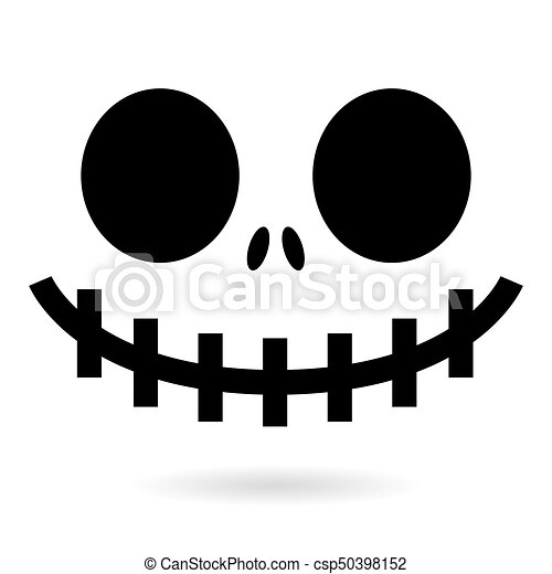 Scary halloween ghost or pumpkin face vector design, monster ...