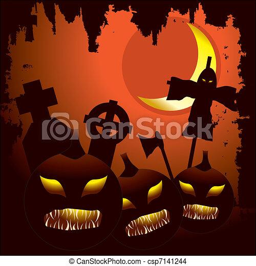 Scary Halloween night background - csp7141244