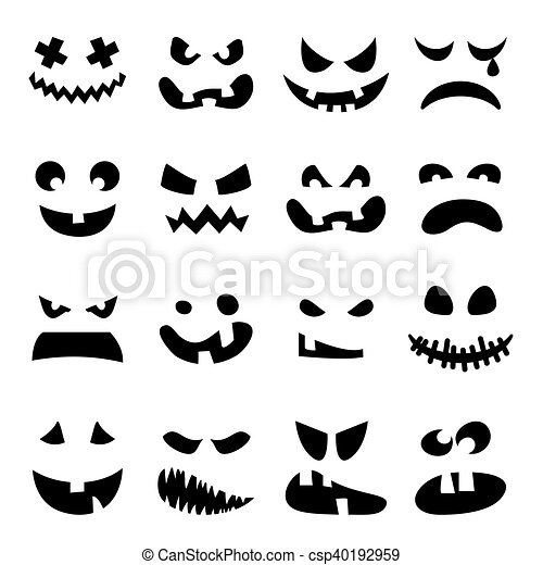 Scary Halloween pumpkin faces set. Horror, terrible, awful ...