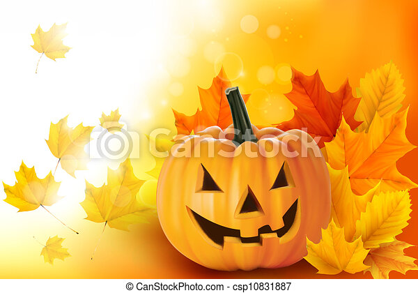 Scary Halloween pumpkin with leaves  Vector  - csp10831887