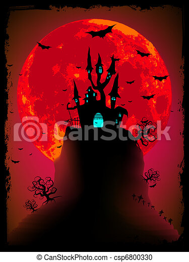Scary halloween vector with magical abbey. EPS 8 - csp6800330