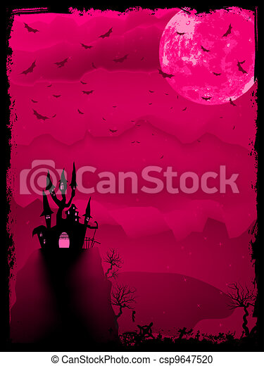 Scary halloween vector with magical abbey. EPS 8 - csp9647520
