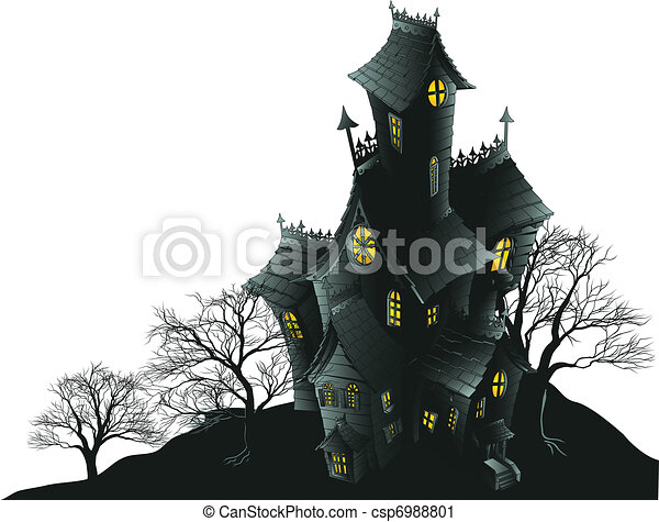 Scary haunted house and trees illus - csp6988801