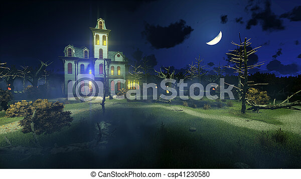 Scary haunted mansion under night sky - csp41230580