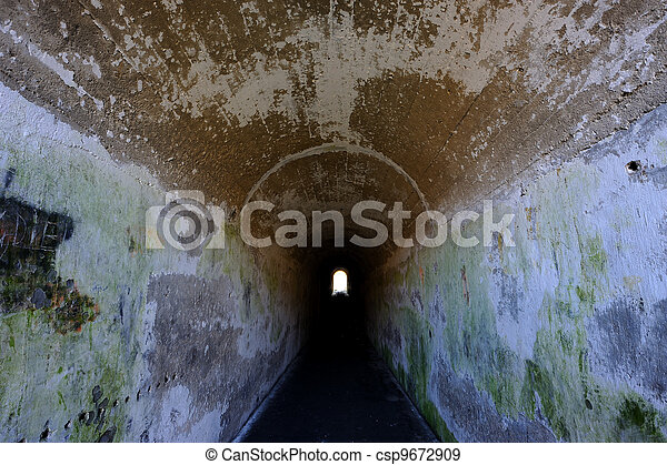 Scary old tunnel and pathway. - csp9672909