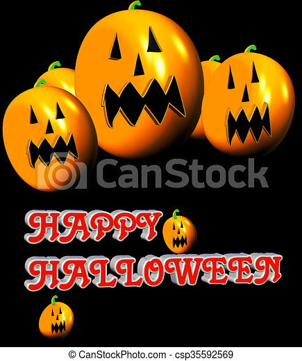 Scary pumpkins . Halloween comes once a year , for people... stock ...