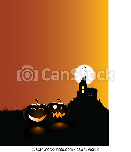 scary pumpkins with a haunted house - csp7596382