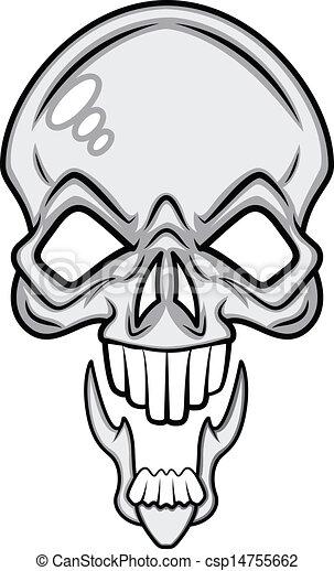 scary skull vector. drawing art of cartoon scary horrible clip