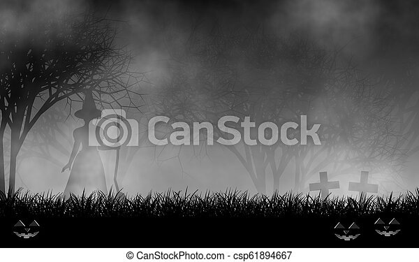 Scary witch standing in creepy forest design background