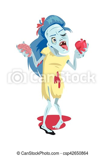 Scary Zombie Woman Walking Vector Illustration - csp42650864