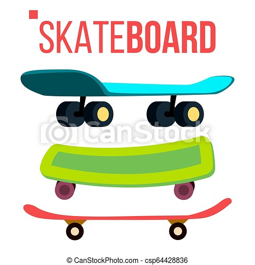 28d11f53 Scateboard Set Vector. Skate Park. Extreme Summer Activity. Isolated  Cartoon Illustration - csp64428836