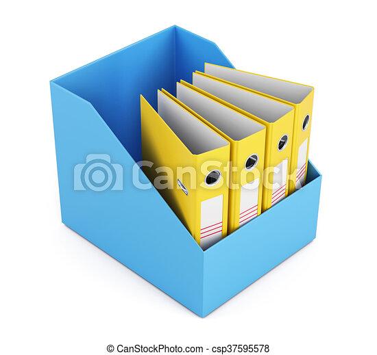 scatola, cartelle, render, isolato, fondo., bianco, vuoto, 3d - csp37595578