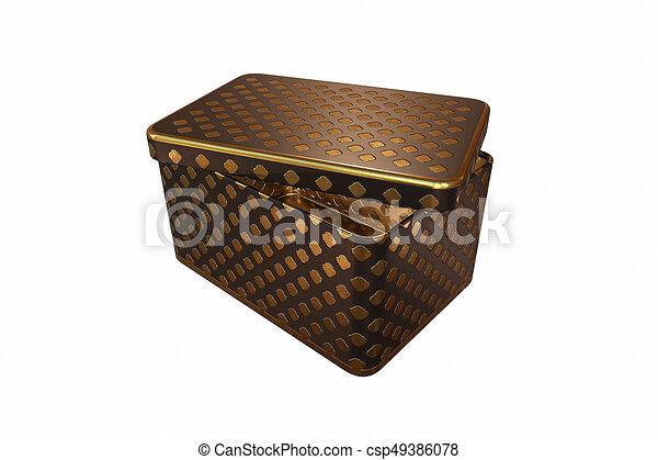 scatola, coperchio, metallo, isolato, interpretazione, fondo, bianco, vuoto, 3d - csp49386078