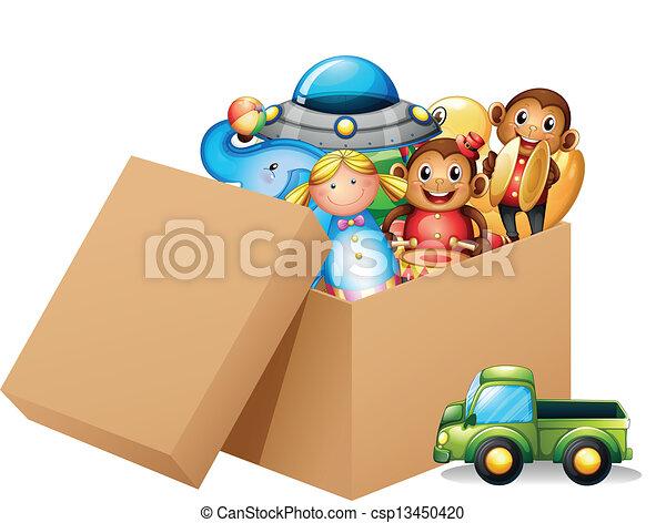 scatola, differente, pieno, giocattoli - csp13450420