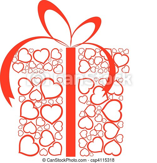 Scatola Fatto Amore Stilizzato Presente Cuori Rosso Scatola
