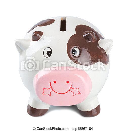 scatola, moneta, mucca - csp18867104