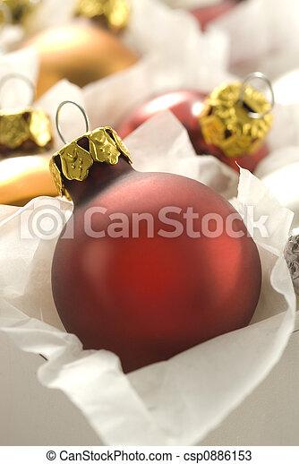 scatola, palla, natale, rosso - csp0886153