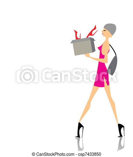 scatola, ragazza fascino, shopping - csp7433850