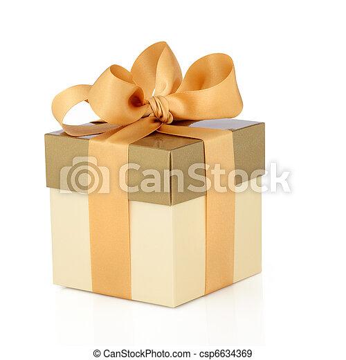 scatola, regalo, arco oro - csp6634369