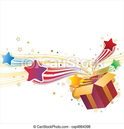 scatola, regalo, stella - csp4864398