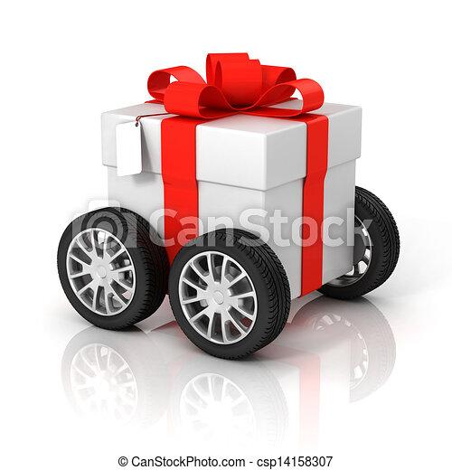 scatola, ruote, regalo - csp14158307