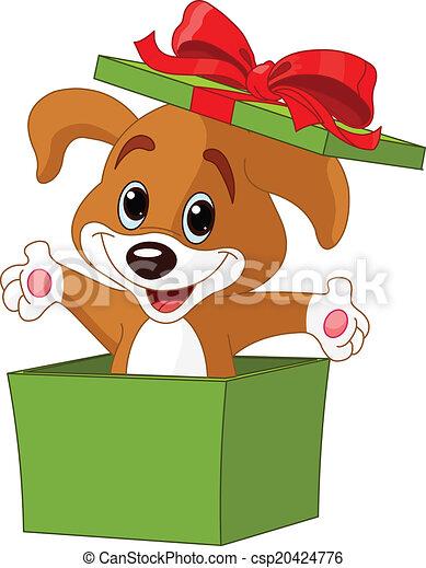 scatola, saltare, cucciolo, fuori - csp20424776