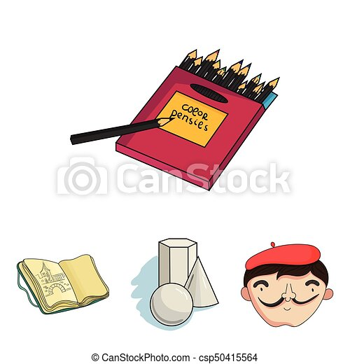 Scatola Stile Set Colorato Icone Artista Simbolo Web