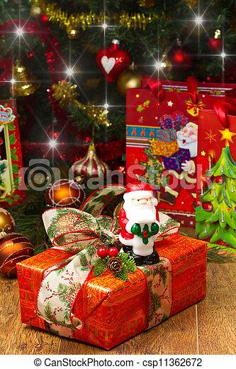 scatole, albero, regalo natale - csp11362672