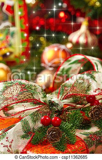 scatole, albero, regalo natale - csp11362685
